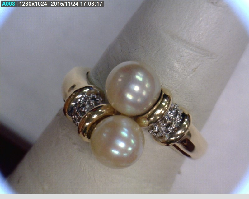 Pearl Lady's Stone & Diamond Ring 6 Diamonds .06 Carat T.W. 14K Yellow Gold