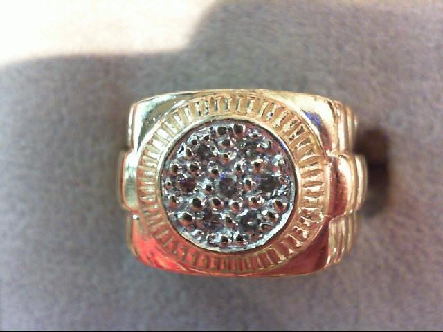 Gent's Diamond Cluster Ring 7 Diamonds .23 Carat T.W. 10K Yellow Gold 5.8g