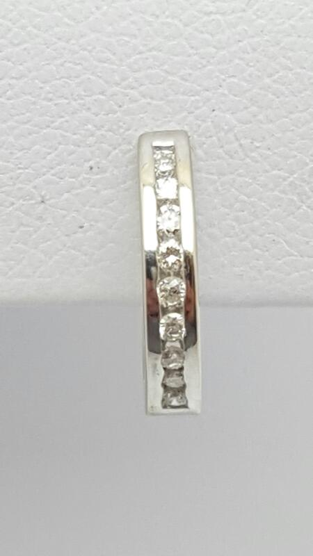 Gold-Diamond Earrings 9 Diamonds .09 Carat T.W. 14K White Gold 0.9g
