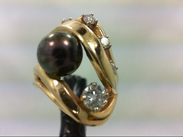 Pearl Lady's Stone & Diamond Ring 5 Diamonds 0.42 Carat T.W. 14K Yellow Gold 7.7