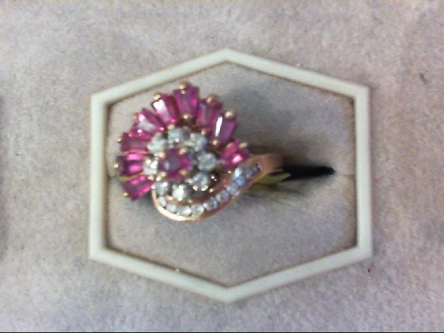 Synthetic Ruby Lady's Stone & Diamond Ring 19 Diamonds .35 Carat T.W.
