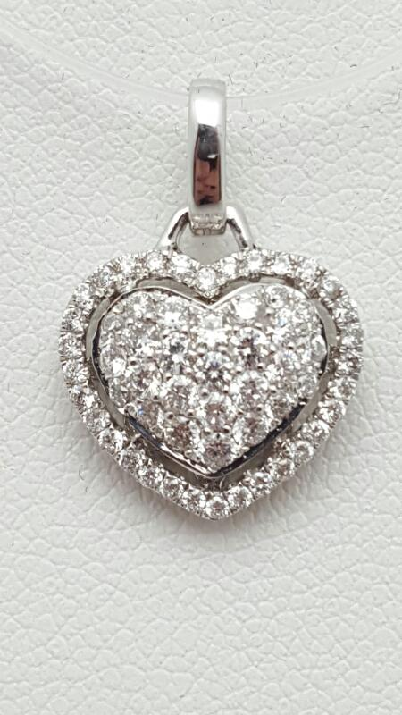 Gold-Multi-Diamond Pendant 58 Diamonds .58 Carat T.W. 18K White Gold 1.9g