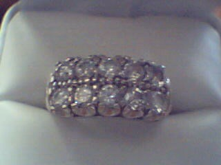 Lady's Gold-Diamond Anniversary Ring 10 Diamonds 1.50 Carat T.W. 14K White Gold