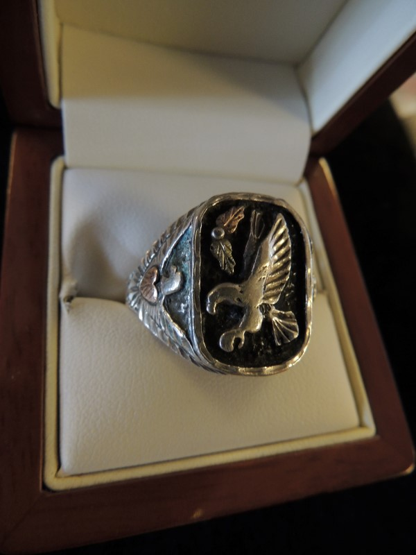 Gent's Silver Ring 925 Silver 13g 10k ACCENTS