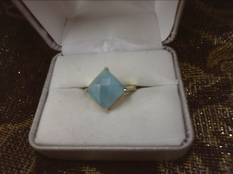 STERLING SILVER RING W/ PILLOW CUT BLUE STONE SIZE: 7