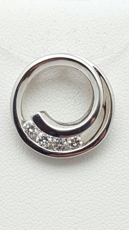Gold-Multi-Diamond Pendant 4 Diamonds .25 Carat T.W. 14K White Gold 3.4g