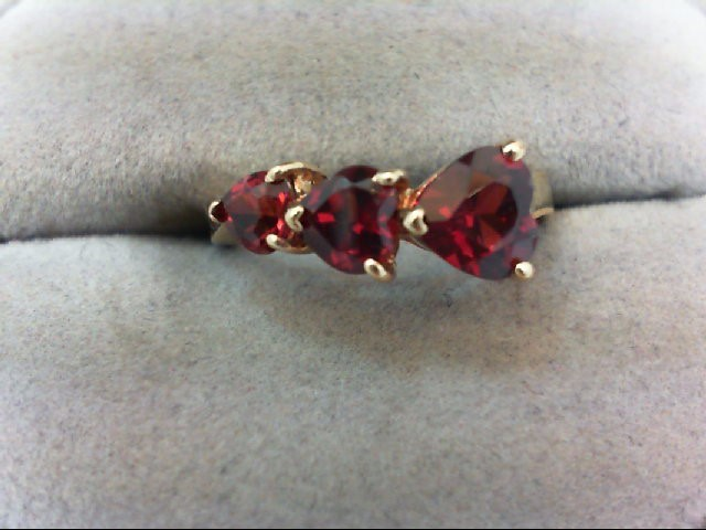 Almandite Garnet Lady's Stone Ring 10K Yellow Gold 2g