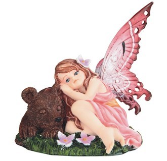 "GEORGE S. CHEN 91876 FAIRY BABY WITH BEAR 5.5"" WIDE"