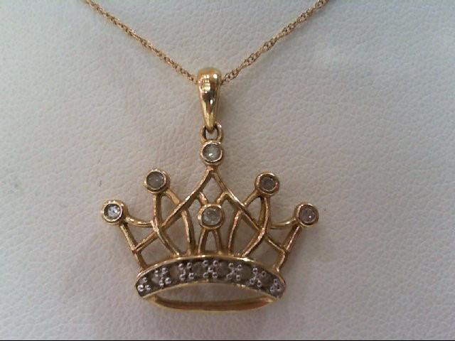 Gold-Multi-Diamond Pendant 13 Diamonds .33 Carat T.W. 10K Yellow Gold 2g
