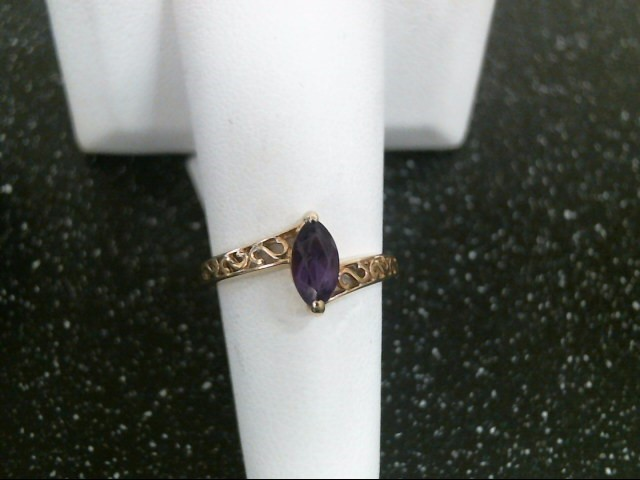 Synthetic Amethyst Lady's Stone Ring 14K Yellow Gold 2.4g Size:6.5
