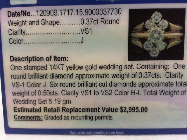 Lady's Diamond Wedding Set 7 Diamonds .85 Carat T.W. 14K Yellow Gold 5.19g