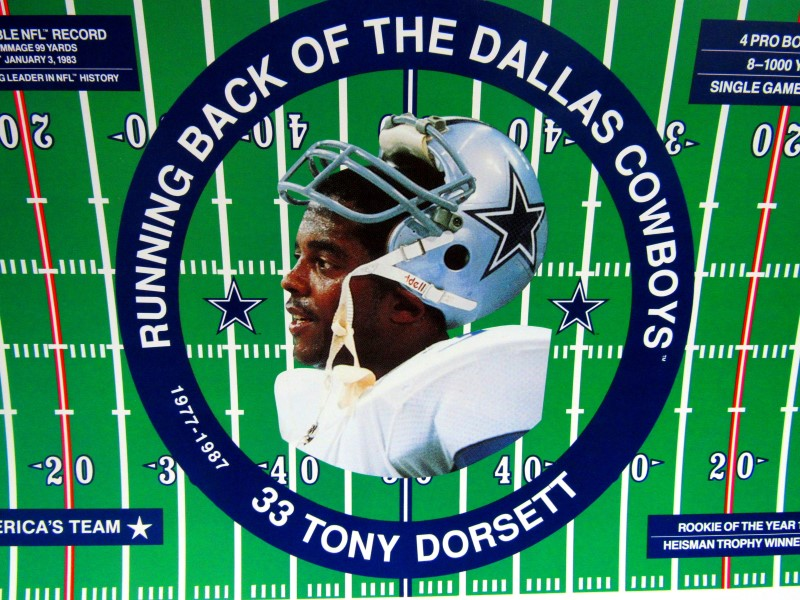 TONY DORSETT SIGNED POSTER 24/1000