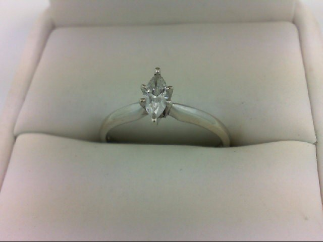 Lady's Diamond Solitaire Ring 0.33 CT. 10K White Gold 1.6g