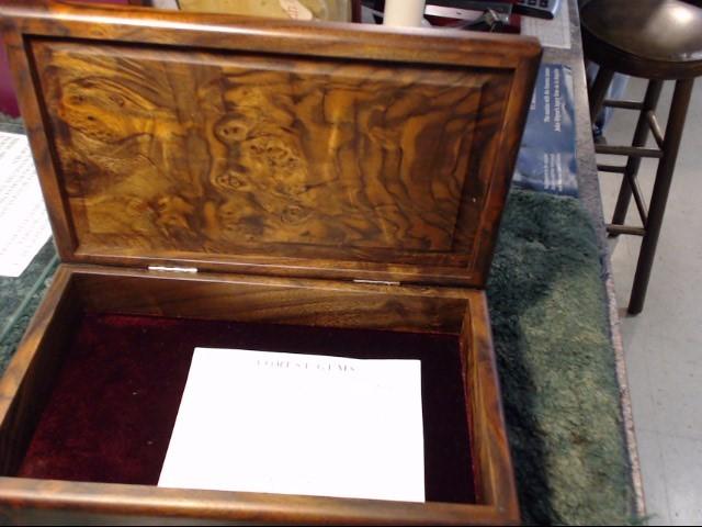 FOREST GEMS BURNT BLACK WALNUT STORAGE BOX WITH PAPER WORK IN NEW CONDITION