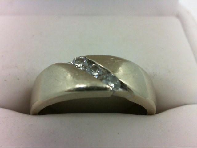 Gent's Gold-Diamond Wedding Band 3 Diamonds 0.15 Carat T.W. 14K White Gold 5.1g