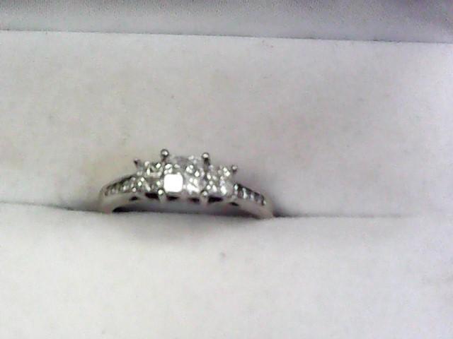 Lady's Diamond Cluster Ring 12 Diamonds .96 Carat T.W. 14K White Gold 2.25dwt