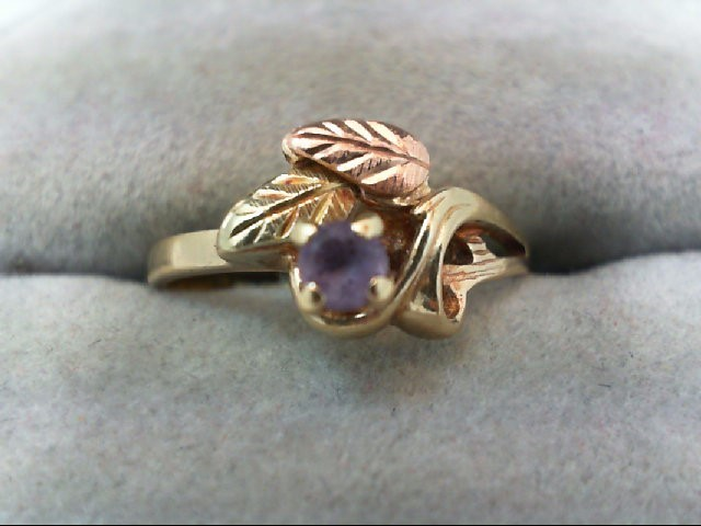 Amethyst Lady's Stone Ring 10K Tri-color Gold 2g