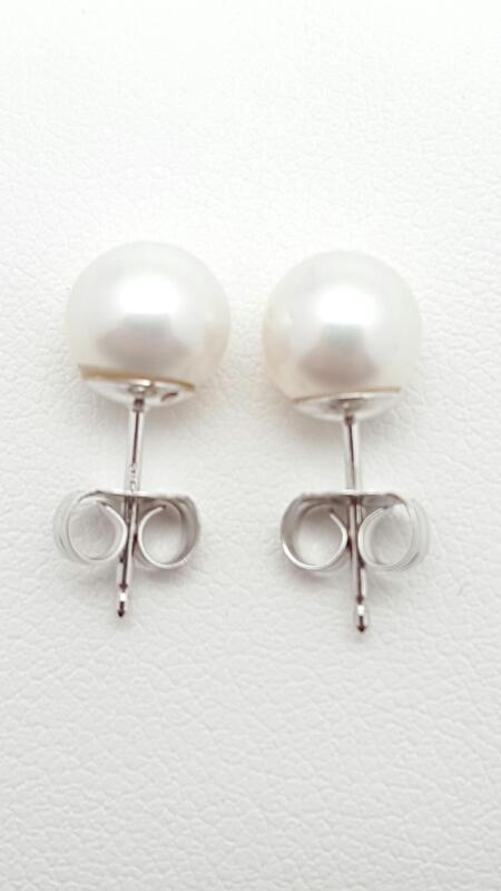 Pearl Gold Earrings 14K White Gold 1.5g