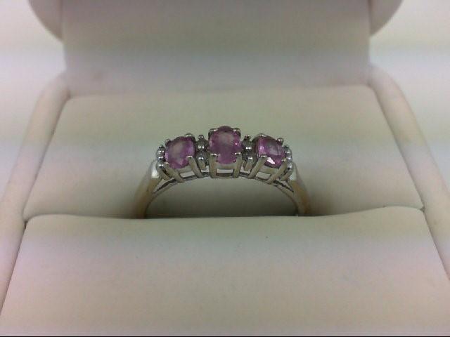 Pink Sapphire Lady's Stone & Diamond Ring 4 Diamonds 0.04 Carat T.W. 10K White G