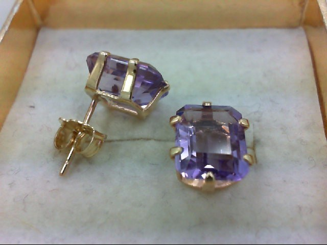 Amethyst Gold-Stone Earrings 14K Yellow Gold 1.7g