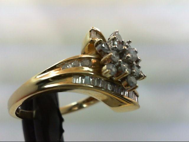Lady's Diamond Cluster Ring 43 Diamonds 1.17 Carat T.W. 10K Yellow Gold 4g Size: