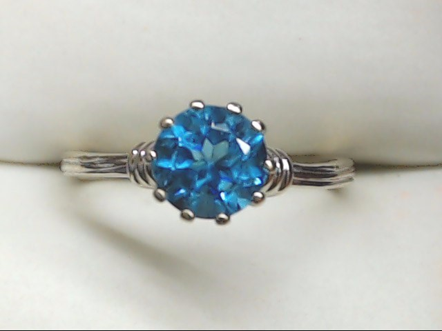 Synthetic Blue Topaz Lady's Stone Ring 14K White Gold 1.8g Size:5.5