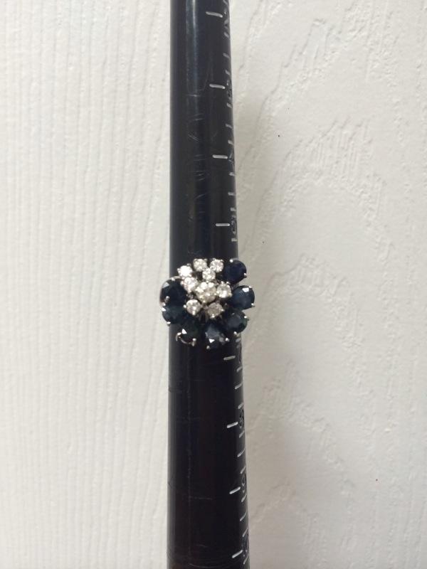 Sapphire Lady's Stone & Diamond Ring 9 Diamonds 1.19 Carat T.W. 10K White Gold