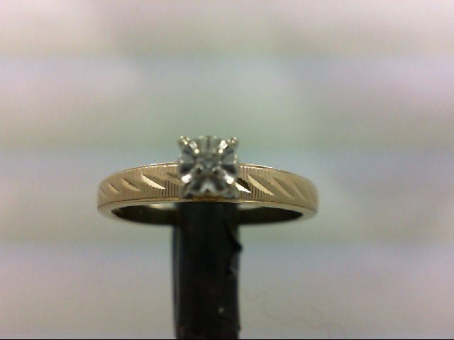 Lady's Diamond Engagement Ring 0.02 CT. 10K 2 Tone Gold 1.9g