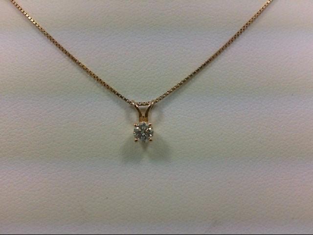 Gold-Diamond Solitaire Pendant 0.15 CT. 14K Yellow Gold 1.7g