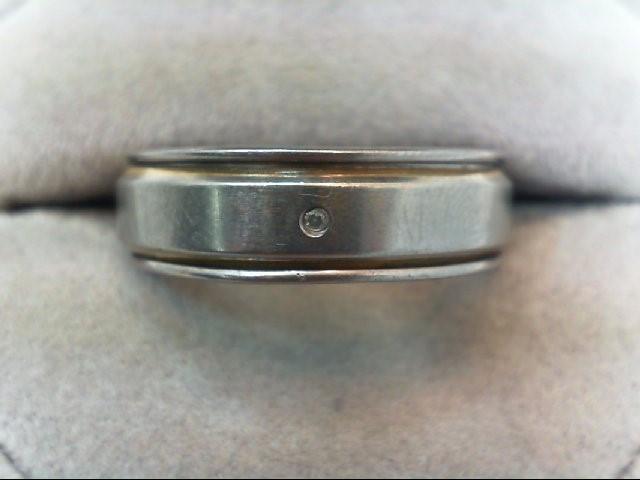 Gent's Diamond Ring .01 CT. Silver Titanium 30.2g