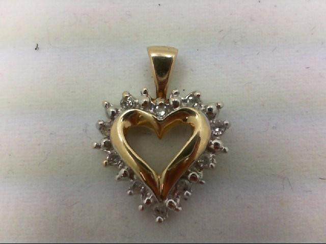 Gold-Multi-Diamond Pendant 10 Diamonds 0.1 Carat T.W. 10K Yellow Gold 1.2g