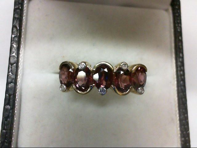 Rubelite Tourmaline Lady's Stone & Diamond Ring 5 Diamonds 0.05 Carat T.W. 14K Y