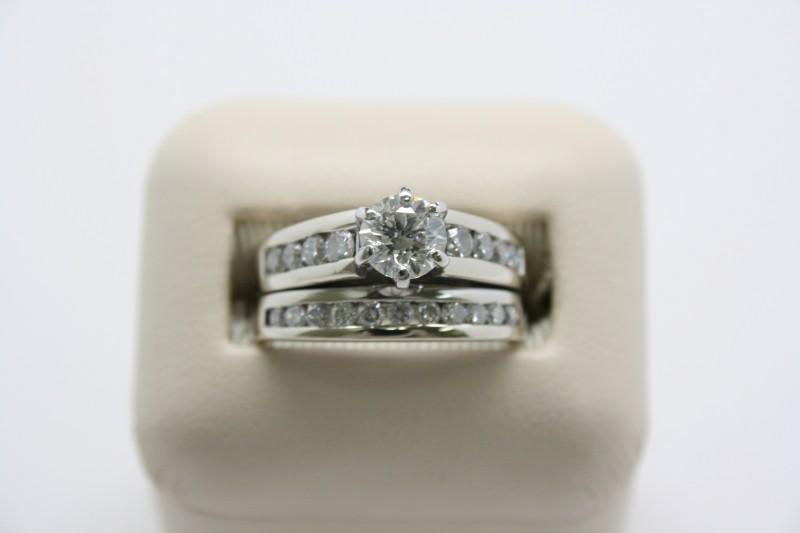 LADY'S WHITE GOLD WEDDING SET 8.6G 14K WG 1R-.71 SI2 HI 19R-.54CT