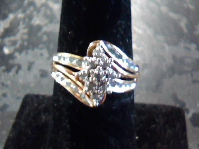 Lady's Silver-Diamond Ring 27 Diamonds .27 Carat T.W. 925 Silver 1.9dwt