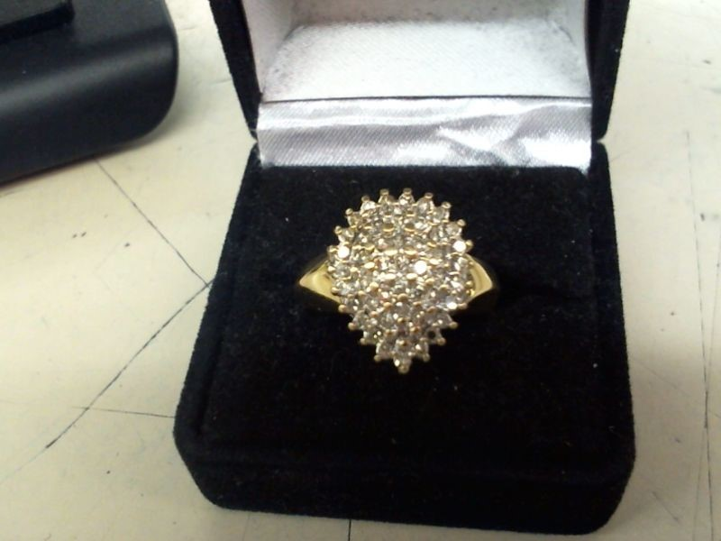 Gent's Diamond Cluster Ring 42 Diamonds .84 Carat T.W. 10K Yellow Gold 4.3g