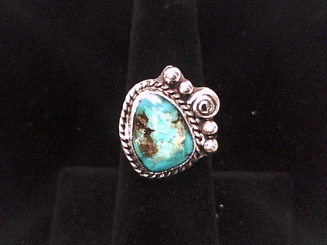 SS 6.5 RING W/TURQUOISE STONE