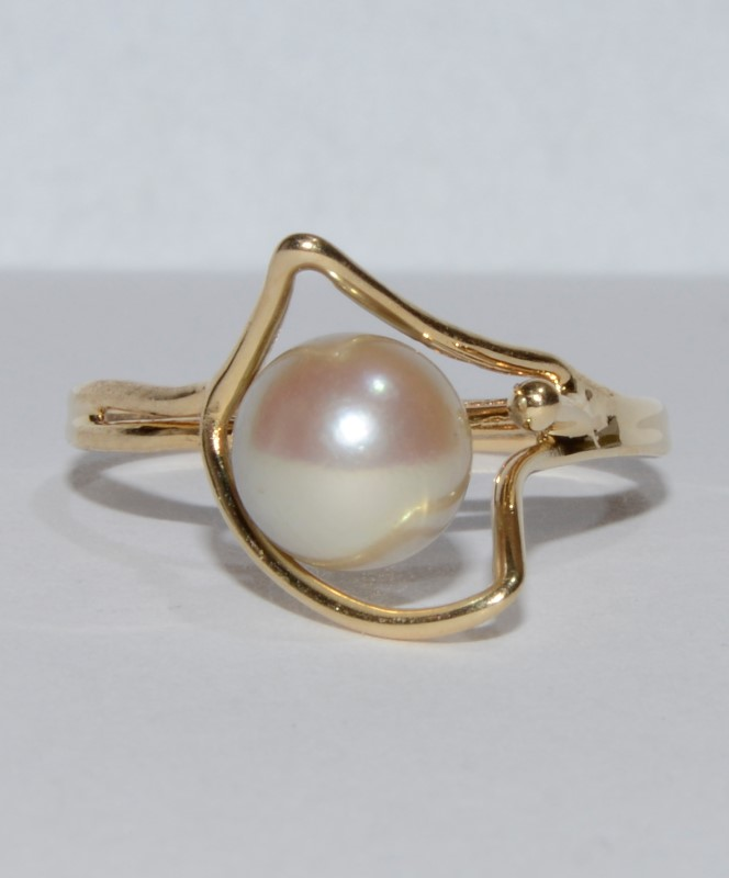14K Yellow Gold Unique Geometic Pearl Solitaire Wire Ring sz 5.75