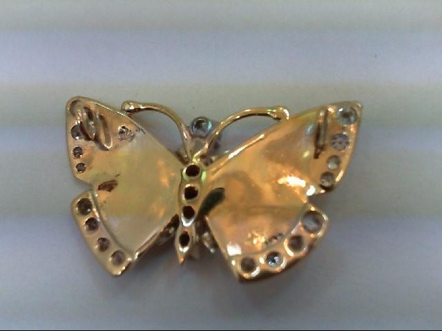 Gold-Diamond Solitaire Pendant 35 Diamonds 0.7 Carat T.W. 14K Yellow Gold 4.58g
