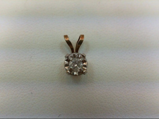 Gold-Diamond Solitaire Pendant 0.1 CT. 14K Yellow Gold 0.4g