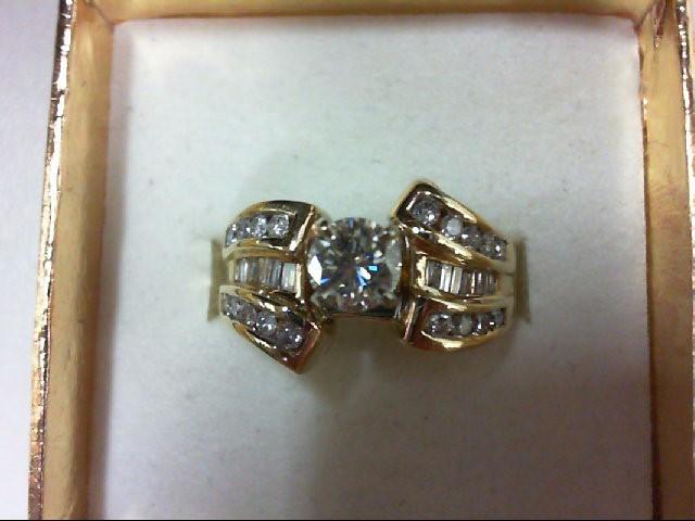 Lady's Diamond Engagement Ring 33 Diamonds 1.14 Carat T.W. 14K Yellow Gold 5g