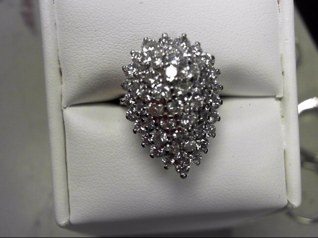 Lady's Diamond Cluster Ring 51 Diamonds 2.04 Carat T.W. 14K White Gold 7.2g