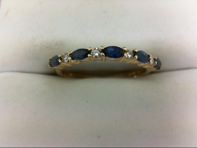 Sapphire Lady's Stone & Diamond Ring 4 Diamonds 0.12 Carat T.W. 14K Yellow Gold