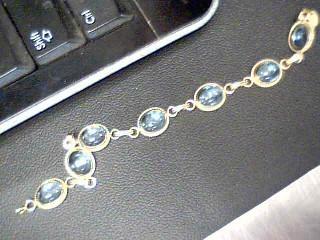 Synthetic Aquamarine Gold-Stone Bracelet 14K Yellow Gold 11g