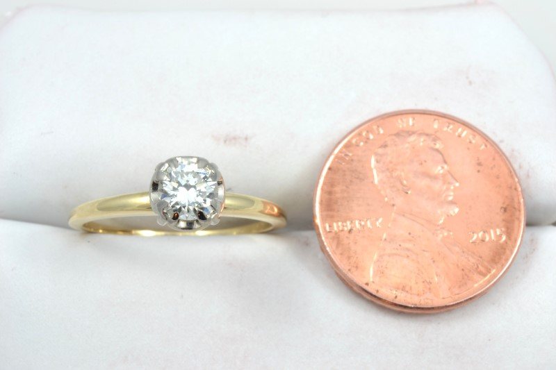 ESTATE DIAMOND RING SOLID 14K GOLD ENGAGEMENT WEDDING ROUND SIZE 6
