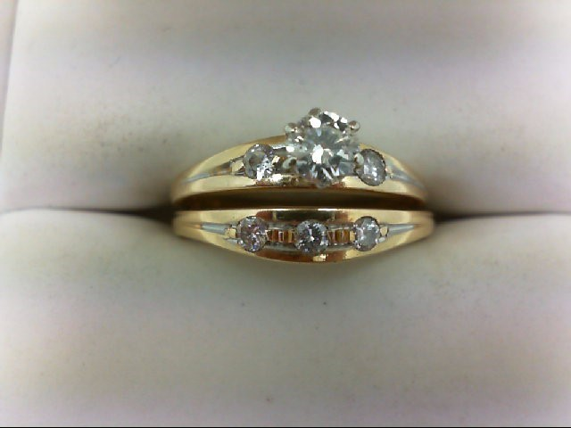 Lady's Diamond Wedding Set 6 Diamonds 0.5 Carat T.W. 14K Yellow Gold 3.9g