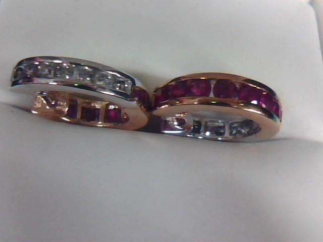 Ruby Gold-Diamond & Stone Earrings 14 Diamonds 0.28 Carat T.W. 10K Yellow Gold 2