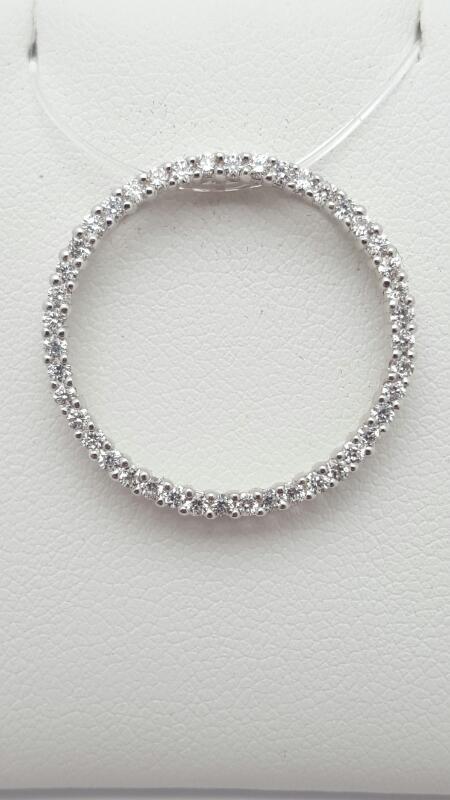 Gold-Multi-Diamond Pendant 67 Diamonds .67 Carat T.W. 18K White Gold 3.3g