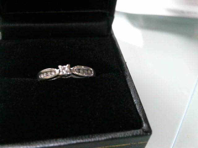 Lady's Diamond Engagement Ring 9 Diamonds .24 Carat T.W. 10K White Gold 2.1g