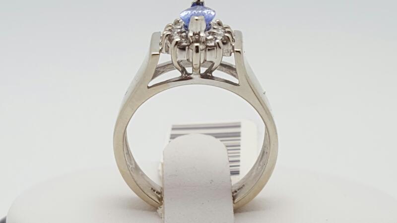 Lady's Tanzanite & Diamond Ring 12 Diamonds .24 Carat T.W. 14K White Gold
