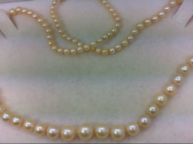 """18"""" Pearl Strand Stone Necklace 925 Silver 14.4g"""